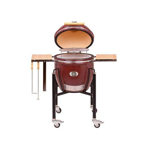 Classic grill – vörös, acél kocsival és oldalpolcokkal