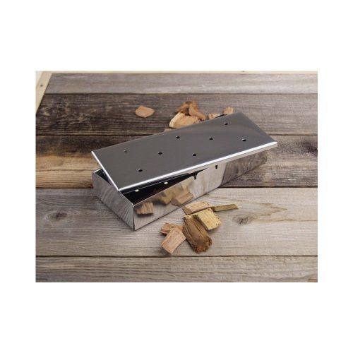 Téglalap füstölő doboz fedéllel, rozsdamentes acél